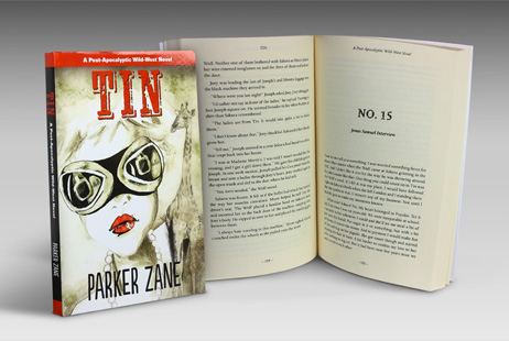 Book cover design and layout design for Tin by Parker Zane
