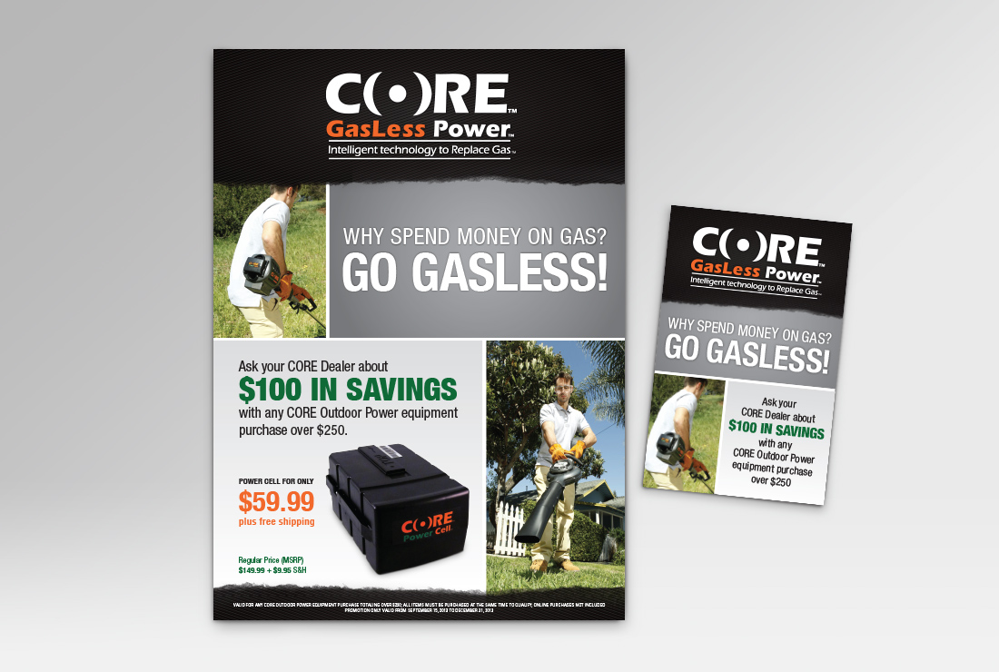 Direct Mail and Flyer for Core Outdoor Power, Montana