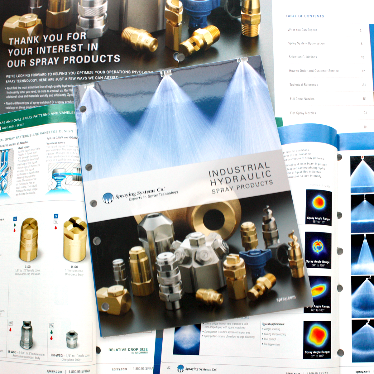 Product catalog design for Spray Nozzle Manufacturing, Chicago Illinois