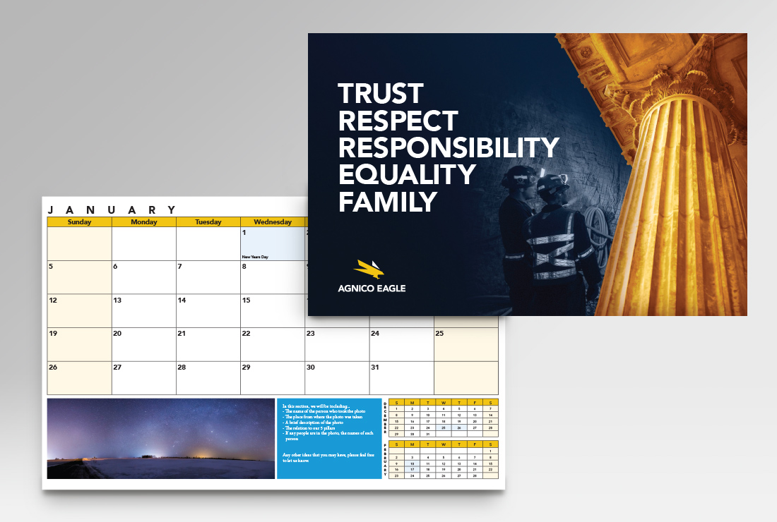 Agnico Eagle Mines International Calendar Designs, Toronto Canada