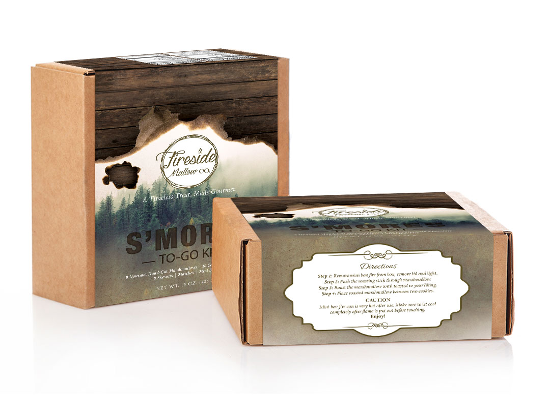 S'mores Product Packaging Design for Fireside Mallow Gourmet Marshmallows
