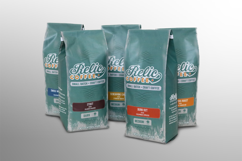 Relic Coffee Packaging Design, Boise Idaho